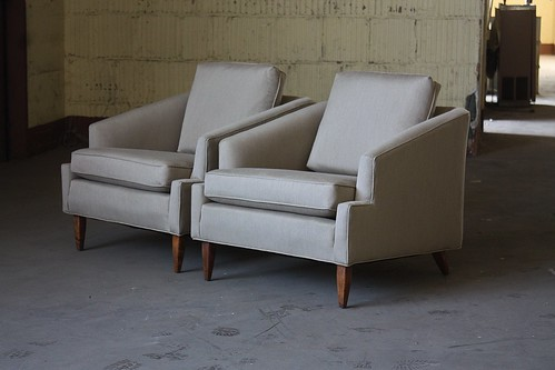 Angular Midcentury Modern Lounge Arm Chairs (U.S.A., 1960s)