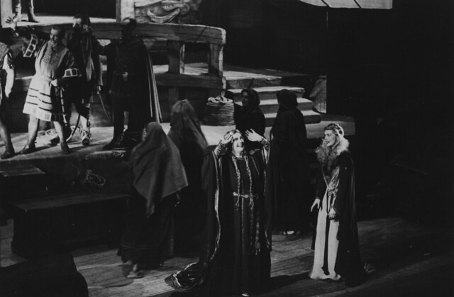 Kirsten Flagstad as Isolde and Constance Shacklock as Brangane in the Covent Garden Opera Company performance of Tristan und Isolde (1948), produced by Friedrich Schramm at the Royal Opera House, Covent Garden. Photograph by Roger Wood