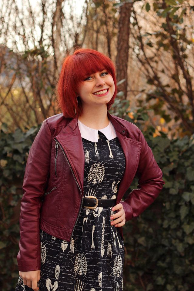 Skeleton Print Dress with a Burgundy Faux Leather Jacket