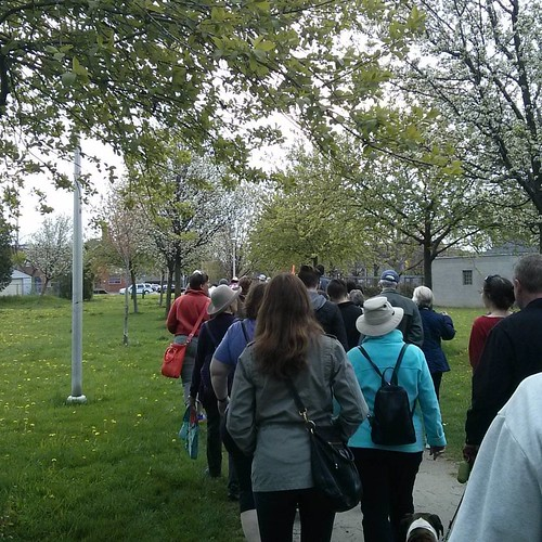 The crowd of Janeswalkers #toronto #janeswalk #lovetowalk #chandospark