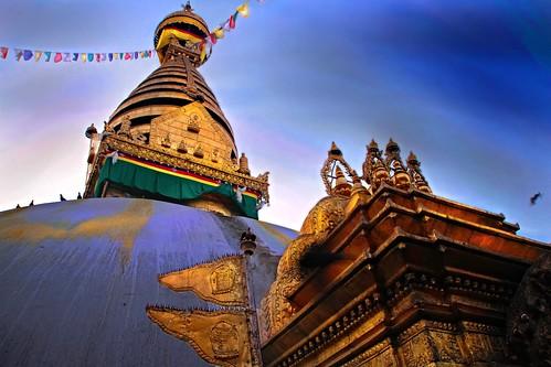sunrise temple dawn asia stupa swayambhunath nepalkathmandu