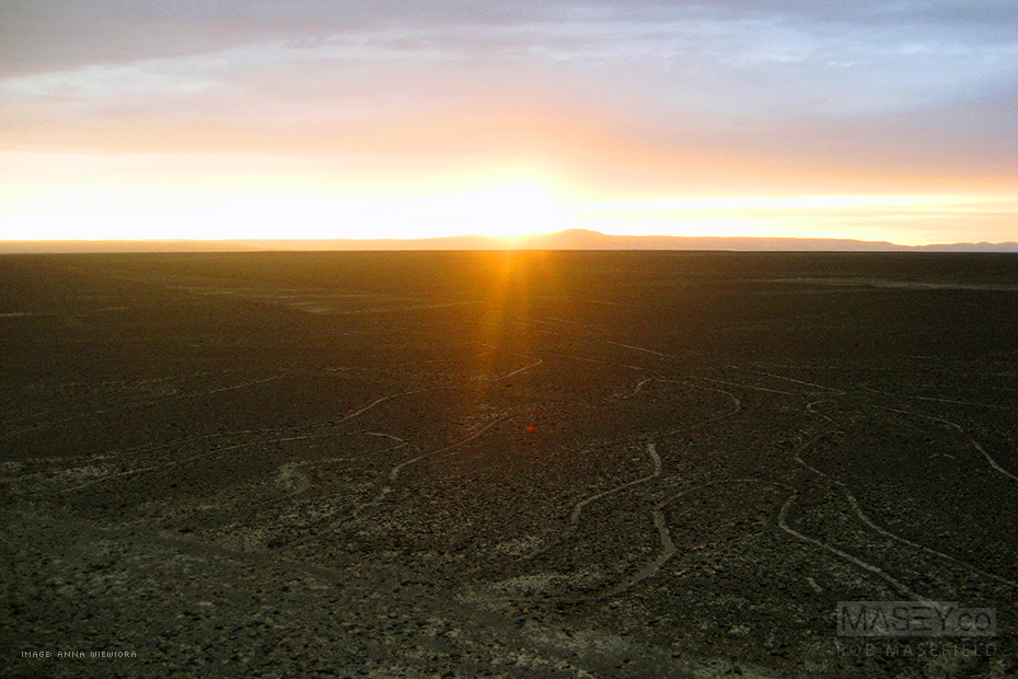 Sunset view from the Nazca Lines tower, Peru.