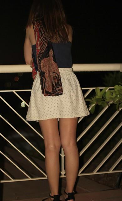 blue tshirt and white skirt