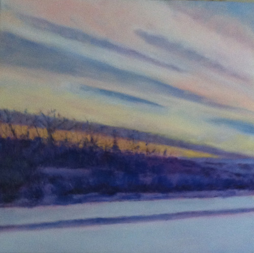 Winter Drive at Sunset (Oil Bar Painting as of June 13, 2013) by randubnick
