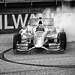 Ryan Hunter-Reay makes the Zanardi donuts to celebrate his victory at Milwaukee