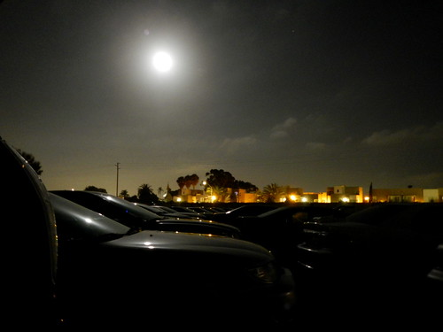 supermoon over the drive-in