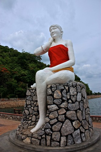 "The ""mermaid"" statue of Kep. Locals give her clothing because they deem her undecent"