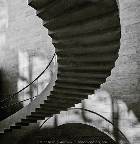 Floating stairs at MUDAM by Alsal Photography