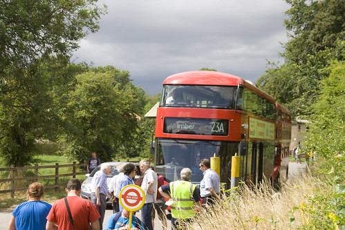 Long queues for the new bus for london in imber
