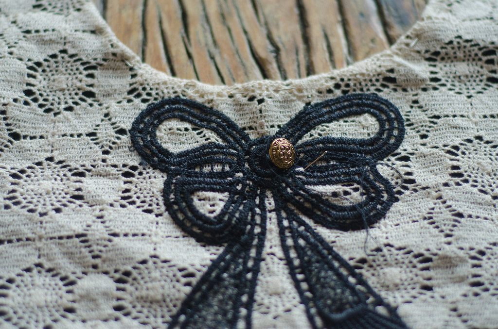 Lace bow dress progress