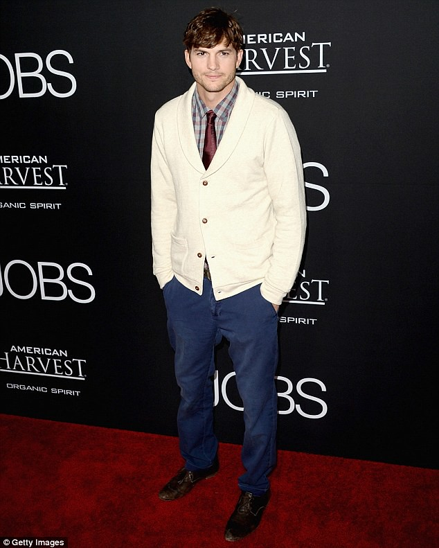 Aston-Kutcher-in-shawl-collar-cardigan