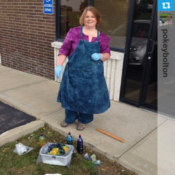 My makeshift dye studio outside the production facility for #QATV, Yes, that is a rolling pin you see on the ground...#Repost from @pokeybolton with @repostapp