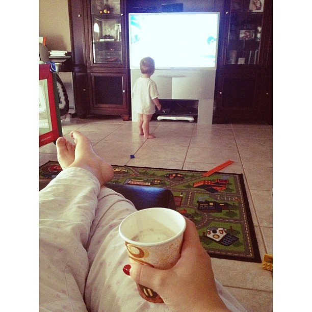 Enjoying my coffee while Will enjoys Mickey Mouse Clubhouse.  #pictapgo_app