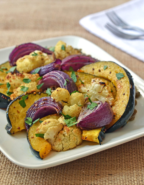 ... serve her Oven Roasted Vegetables with Mustard and Warm Lentils