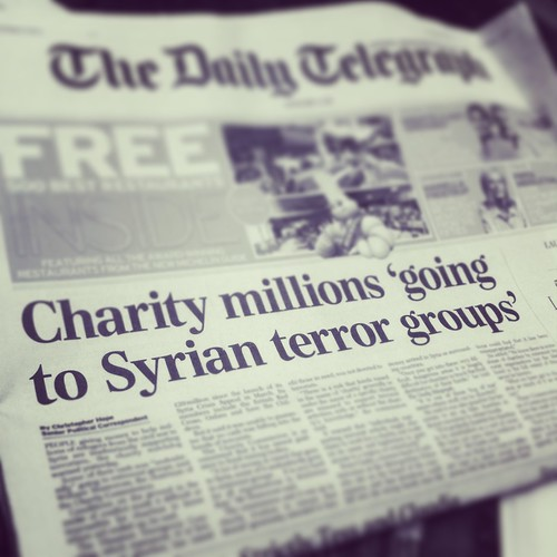 Headline: Charity millions 'going to Syrian terror groups'