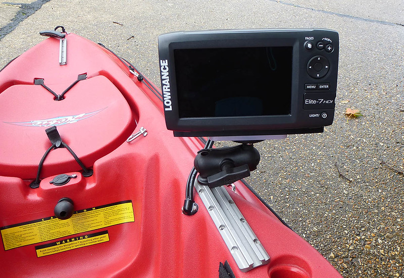 Hobie forums view topic lowrance elite 7 hdi onto an for Kayak fish finder install