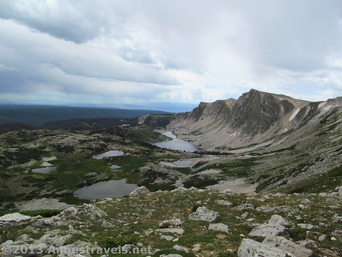 Views of lakes and the Snowy Range while hiking down off of Medicine Bow Peak, Medicine Bow National Forest, WY