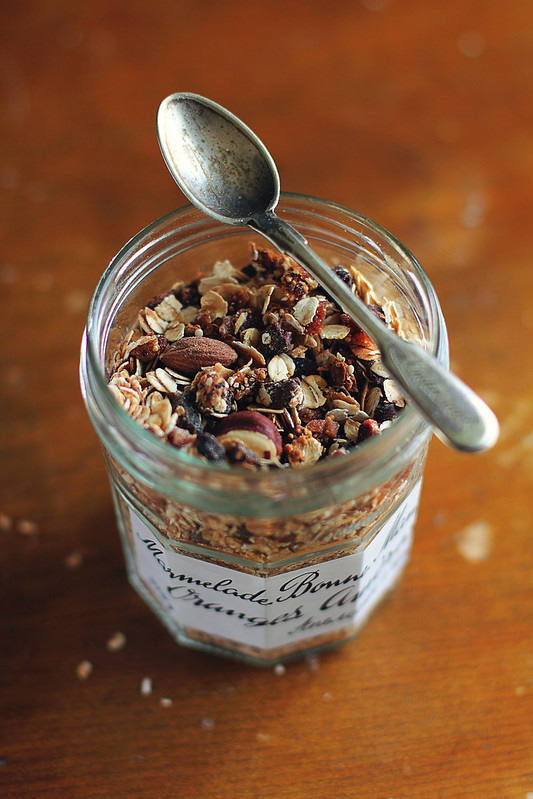 Homemade granola with raisin, prune, hazelnuts and almonds