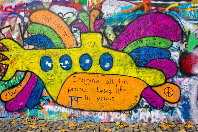 Wednesday, November 6: Already running out of things to do in this pretty, but ultimately not very exciting, city we end up at places like the John Lennon memorial wall.