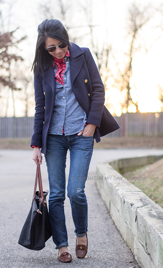 navy peacoat, red turtleneck, printed blouse, chambray shirt, jeans, brown loafers