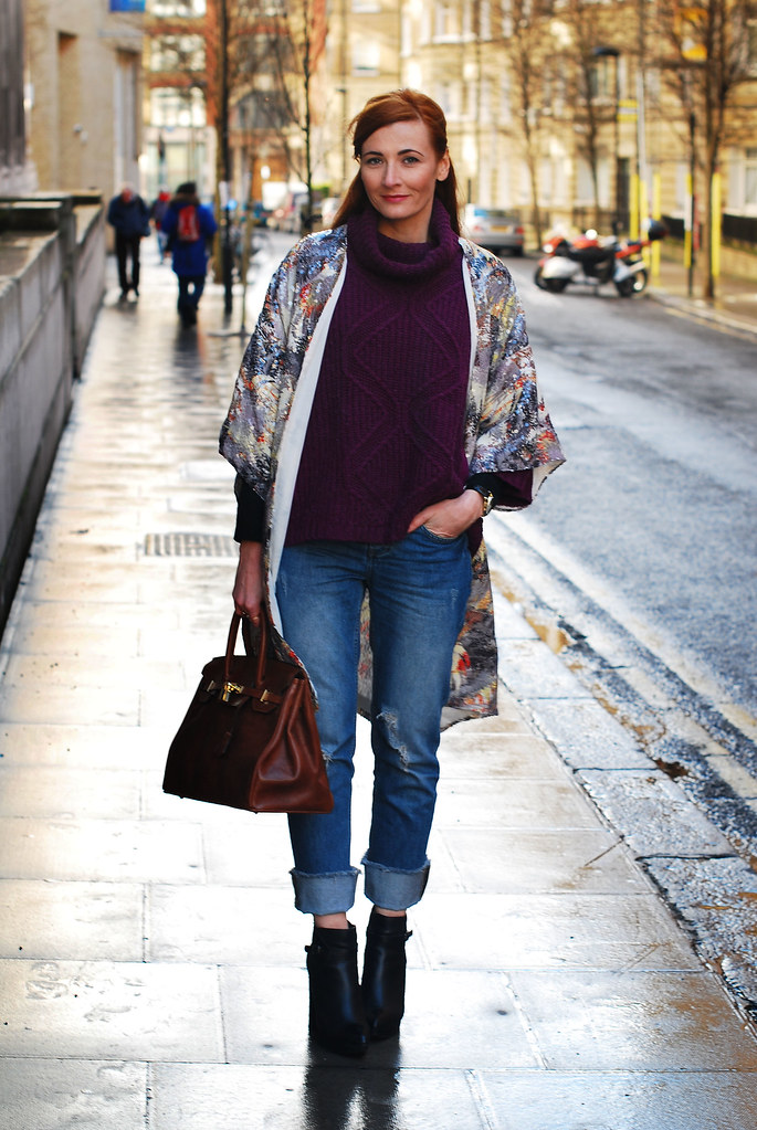 Sequinned kimono, purple cowl neck sweater & distressed denim