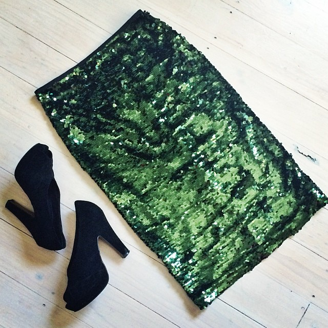 green sequin skirt