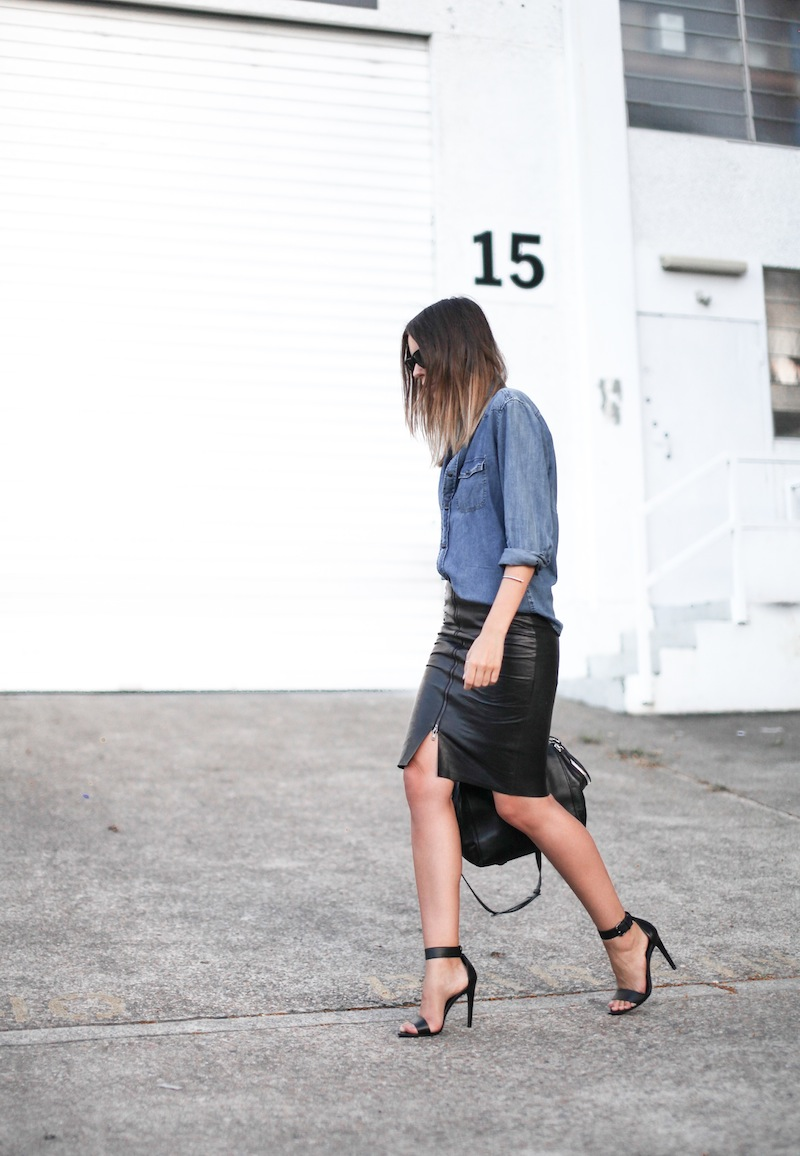 modern legacy fashion personal style blogger australia boyfriend denim shirt General Pants Co KAHLO leather zip pencil skirt Tibi sandal heels Alexander Wang chain bag street style ray ban oversized wayfarers (2 of 12)