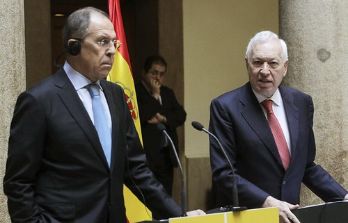 Russian Foreign Minister Sergei Lavrov with his Spanish counterpart Jose Manuel Garcia-Margallo. by Pan-African News Wire File Photos