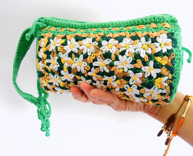 Bolso algodón bordado en rafia