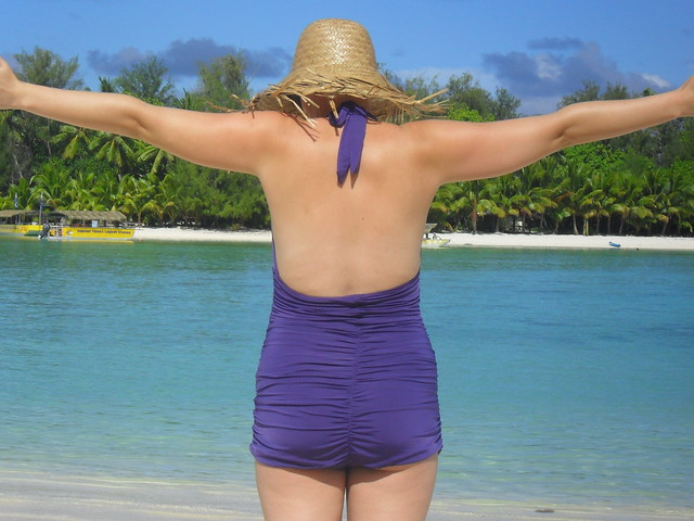 Purple bombshell swimsuit