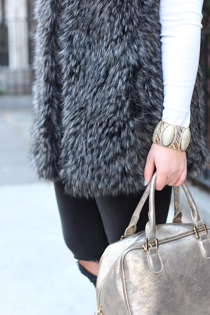 Fur Vest | Ripped Jeans | Winter Outfit | #LivingAfterMidnite