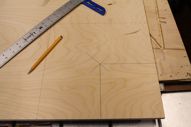 Plywood with pencil marks