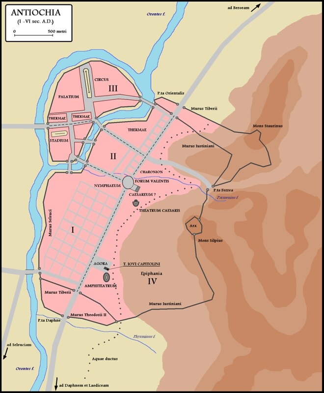 Map of Antioch in the 6th century