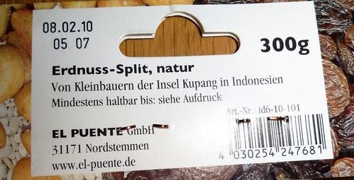 Erdnuss-Split abgelaufen Etikett