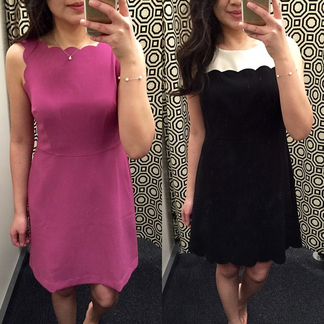 These two #cute scalloped #dresses (tried on 0P in both styles) from last year are back and available via @loft outlet! It was 40% off yesterday and the pink one on left was $89.99 so I assume the right one was probably the same (apologies but I forgot to