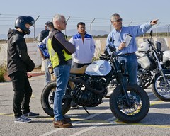 U.S. Naval Support Activity Souda Bay, Greece commander, and Navy Capt. participates in a motorcycle safety course.