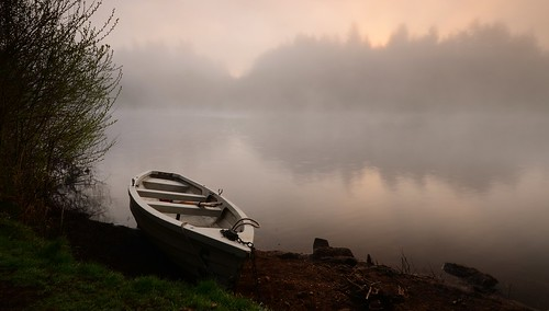 morning trees reflection water beauty misty fog sunrise landscape boat reservoir devon dew rowing picturesque dartmoor tranquillity lustleigh trenchford