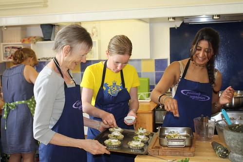 Pat, Leah & Meera filling the leek tarts