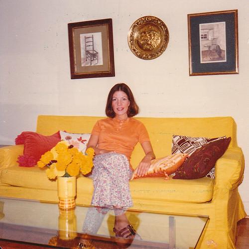 1974 - Mom on yellow sofa
