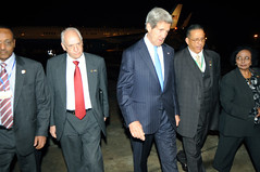 Secretary Kerry Walks Across the Tarmac Upon Landing in Addis Ababa, Ethiopia
