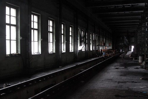 Inspection pit in the abandoned locomotive shed