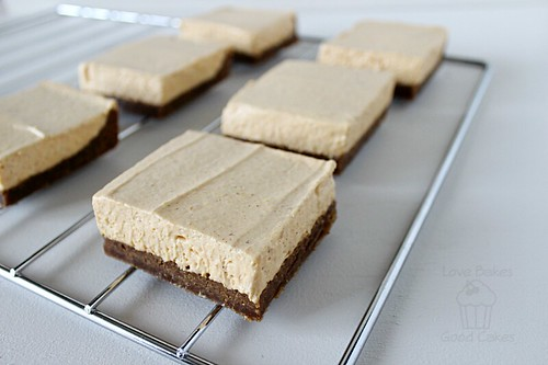 Pumpkin Spice Cheesecake Bars on rack close up.