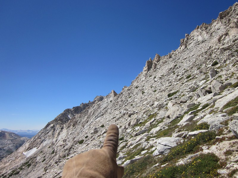Pointing back to the notch where we crossed the south ridge of Matterhorn Peak onto the southeast slope