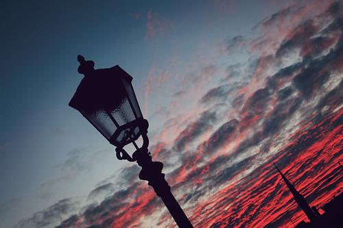 sunset clouds germany deutschland streetlamp sillhouette esslingen badenwürttemberg