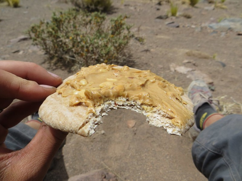 Delicious peanut butter lunch near Paso Socompa