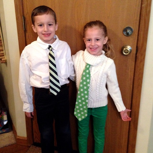 Spirit Week Day THREE. Tie Day!!! Thankfully Nathan owns two ties so he lent one to his sister and we were set!!  It is also the 100th Day of School so Mommy had to help them lug in their 100 Day of School stuff AND they are playing board games during the
