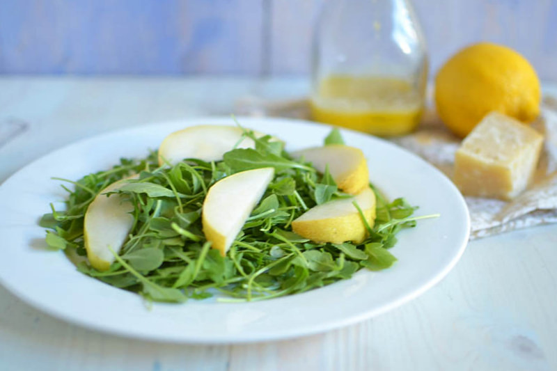 Pear and Arugula Salad with Parmesan Dressing via LittleFerraroKitchen.com