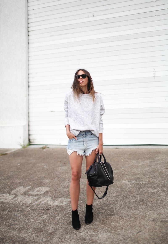 modern legacy fashion blogger Australia street style one teaspoon cutoff denim shorts heather grey sweatshirt suede ankle boots alexander wang jamie chastity bag  (1 of 10)