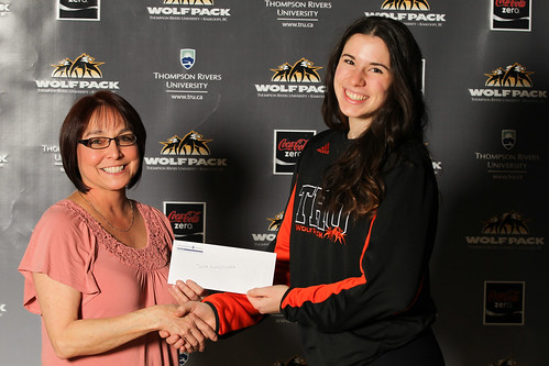 Judy (Upper College Heights present Julia Niemczewska with cheque (Feb 2014)