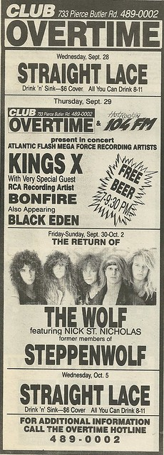 09/29/88 King's X/ Bonfire/ Black Eden @ Club Overtime, St. Paul, MN